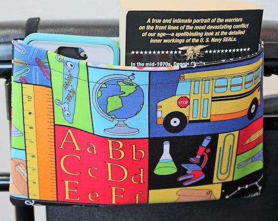 School Themed Single Pocket Armrest Bag for Wheelchair