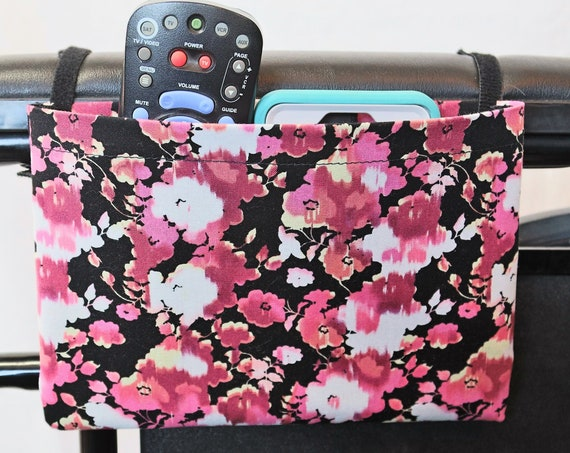 Pink and White Flowers Single Pocket Armrest Bag for Wheelchairs