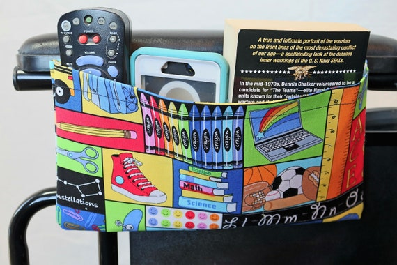 Back to School themed Single Pocket Armrest Bag for Wheelchairs
