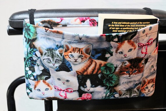 Cats Single Pocket Armrest Bag for Wheelchair - Optional Closure Styles Available
