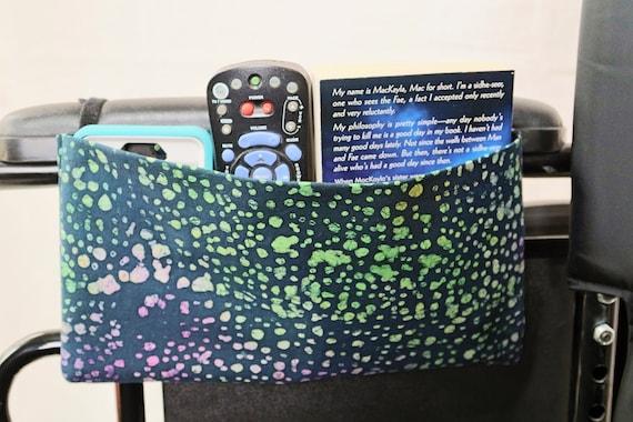 Black and Rainbow Spots Single Pocket Armrest Bag for Wheelchair - Optional Closure Styles Available
