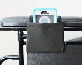 Black Solid Color Armrest Hanging Cell Phone Holder for a Wheelchair, Walker or other Mobility Aides