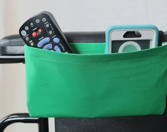 Green Solid Color Single Pocket Armrest Bag for Wheelchair, Walker or other Mobility Aides