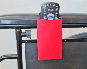 True Red Solid Color Armrest Hanging Remote Control Holder for a Wheelchair, Walker or other Mobility Aides