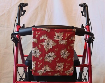 Flowers Multiple Pocket Armrest Bag for Wheelchair, Walker or other Mobility Aides, Optional Closures Available