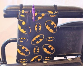 Comic Single Pocket Armrest Bag for Wheelchair, Walker or other Mobility Aides, Optional Closure Styles Available