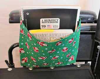 Santa Claus Single Pocket Armrest Bag for Wheelchair, Walker or other Mobility Aides, Snap Closure, Hook and Loop Closure Available