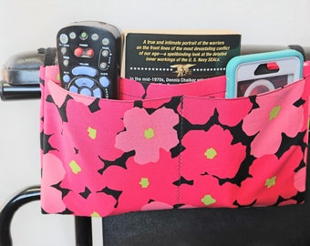 Bright Pink Flowers Multiple Pocket Armrest Bag for Wheelchair, Walker or other Mobility Aides