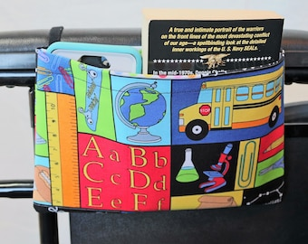 School Themed Single Pocket Armrest Bag for Wheelchair, Walker or other Mobility Aides