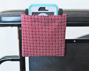 Red and White Wheelchair Arm Rest Cell Phone Holder, Wheelchair cellphone pocket, Wheelchair arm rest cell phone pouch, Wheelchair XS Pouch