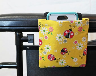 Ladybugs Armrest Hanging Cell Phone Holder for a Wheelchair, Walker or other Mobility Aides