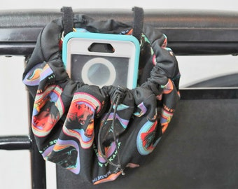 Hanging Cinch Bag for your Wheelchair, Walker or other Mobility Device, Cell Phone Holder