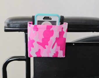 Pink Camo Armrest Hanging Cell Phone Holder for a Wheelchair, Walker or other Mobility Aides