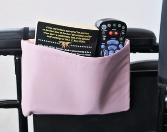 Pale Pink Solid Color Single Pocket Armrest Bag for Wheelchair, Walker or other Mobility Aides