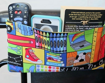 Back to School themed Single Pocket Armrest Bag for Wheelchair, Walker or other Mobility Aides