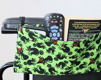 Black Cats Single Pocket Armrest Bag for Wheelchair, Walker or other Mobility Aides Hook and Loop or Snap Closure Available