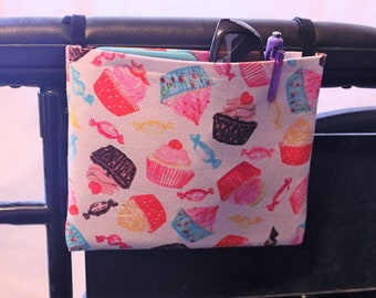 Cupcake Themed Single Pocket Armrest Bag for Wheelchair, Walker or other Mobility Aides