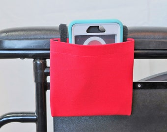True RedWheelchair Arm Rest Cell Phone Holder Pocket, Wheelchair armrest pocket, Wheelchair arm rest cell phone pouch, Wheelchair XS Pouch