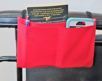 Red Multiple Pocket Armrest Bag for Wheelchair, Walker or other Mobility Aides
