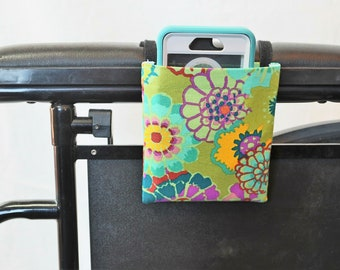 Hippie Floral Wheelchair Arm Rest Cell Phone Holder, Wheelchair cellphone pocket, Wheelchair arm rest cell phone pouch, Wheelchair XS Pouch
