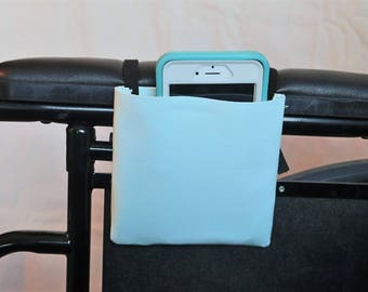Mint Green Solid Color Armrest Hanging Cell Phone Holder for a Wheelchair, Walker or other Mobility Aides