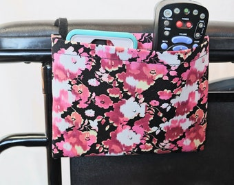 Pink and White Flowers Single Pocket Armrest Bag for Wheelchair, Walker or other Mobility Aides