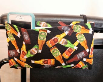 Beer Bottle Themed Single Pocket Armrest Bag for Wheelchair, Walker or other Mobility Aides, Optional Closure Styles Available