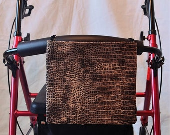 Faux Cotton Fabric Snake Skin Fabric Single Pocket Armrest Bag for Wheelchair, Walker or other Mobility Aides, Optional Closures Available