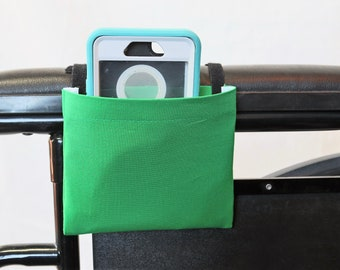 Green Solid Color Armrest Hanging Cell Phone Holder for a Wheelchair, Walker or other Mobility Aides