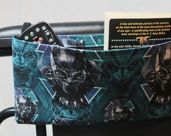 Comic Themed Single Pocket Armrest Bag for Wheelchair, Walker or other Mobility Aides, Optional Closure Styles Available