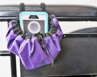 Purple and Black Hanging Cinch Bag for your Wheelchair, Walker or other Mobility Device, Cell Phone Holder