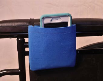 Deep Blue Solid Color Armrest Hanging Cell Phone Holder for a Wheelchair, Walker or other Mobility Aides