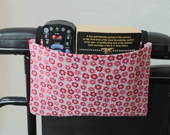 Pink Flowers Single Pocket Armrest Bag for Wheelchair, Walker or other Mobility Aides