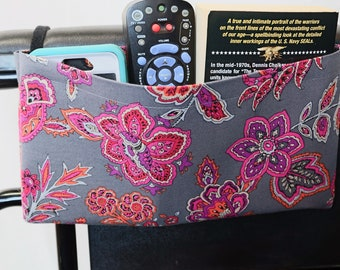 Gray with Pink and Orange Flowers Single Pocket Armrest Bag for Wheelchair, Walker or other Mobility Aides