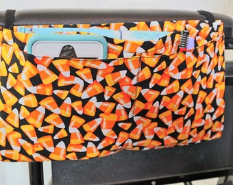 Candy Corns Multiple Pocket Armrest Bag for Wheelchair, Walker or other Mobility Aides