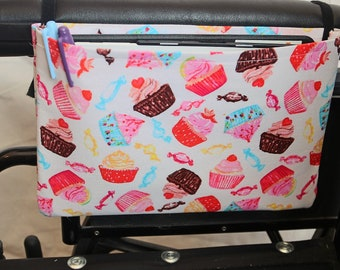 Cupcakes Single Pocket Armrest Bag for Wheelchair, Walker or other Mobility Aides, Optional Closure Styles Available