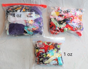 Mixed Media Fabric Scrap Grab Bags, NOT FOR QUILTERS, Extra Small Fabric Scraps for Scrapbooks, Journaling, Travelers Notebooks, Cards