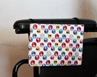 Waldo Single Pocket Armrest Bag for Wheelchair, Walker or other Mobility Aides, Optional Closure Styles Available