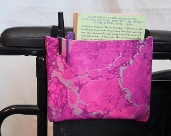 Fushia and Gray marbled Single Pocket Armrest Bag for Wheelchair, Walker or other Mobility Aides, Optional Closure Styles Available
