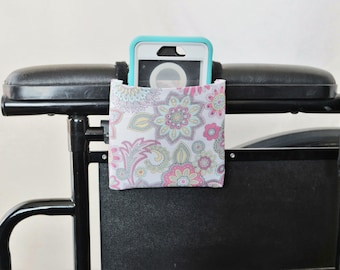 Vintage Flowers Armrest Hanging Cell Phone Holder for a Wheelchair, Walker or other Mobility Aides