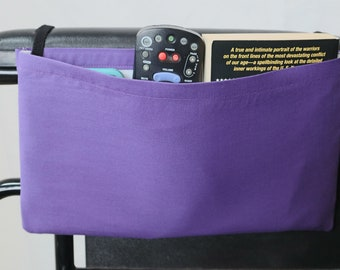 Purple Solid Color Single Pocket Armrest Bag for Wheelchair, Walker or other Mobility Aides