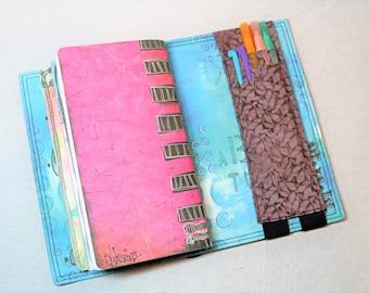 Brown Leaf Silhouettes Travelers Journal Multiple Pen Holder, Planner , Journal Pen Holder,  Travel Journal Pen Holder Inside Outside