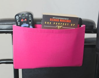 Pink Solid Color Single Pocket Armrest Bag for Wheelchair, Walker or other Mobility Aides
