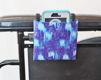 Purple and Blue Wheelchair Armrest Cell Phone Holder, Wheelchair cellphone pocket, Wheelchair arm rest cell phone pouch, Wheelchair XS Pouch