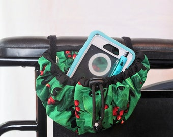 Holly Berry Hanging Cinch Bag for your Wheelchair, Walker or other Mobility Device