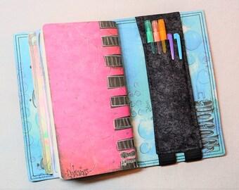Black and Gray Marbled Travelers Journal Multiple Pen Holder, Planner , Journal Pen Holder,  Travel Journal Pen Holder Inside Outside