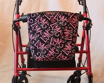 Single Pocket Armrest Bag for Wheelchair, Walker or other Mobility Aides Hook and Loop or Snap Closure Available