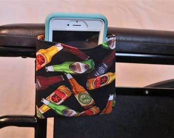 Beer Bottle Themed Armrest Hanging Cell Phone Holder for a Wheelchair, Walker or other Mobility Aides