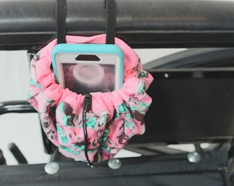 Flamingos Hanging Cinch Bag for your Wheelchair, Walker or other Mobility Device, Cell Phone Holder