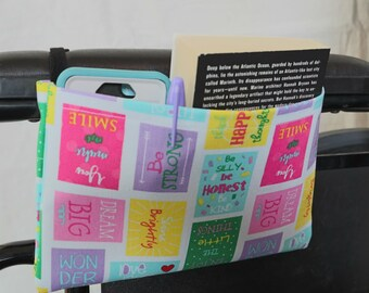 Cheerful Phrases Single Pocket Armrest Bag for Wheelchair, Walker or other Mobility Aides, Optional Closures Styles Available